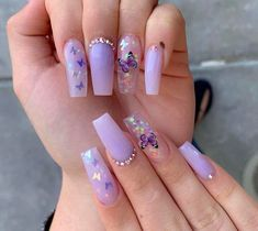 purple nails with butterflies * purple nails ; purple nails with butterflies Purple Acrylic Nails, Acrylic Nails Coffin Short, Square Acrylic Nails, Summer Acrylic Nails, Best Acrylic Nails, Acrylic Nail Designs, Coffin Nails, Butterfly Nail Designs, Summer Nails
