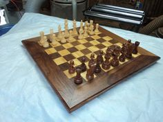 Chess Board With Chess Pieces by RPOsWoodshop on Etsy, $150.00