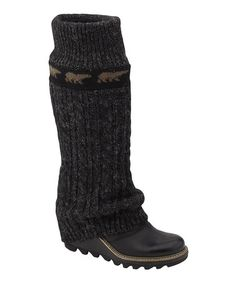 I'll take one in black too!!! Take a look at this Black Crazy Cable Wedge Boot - Women by SOREL on #zulily today!
