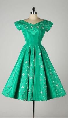 vintage 1950s dress . LORIE DEB . emerald by millstreetvintage