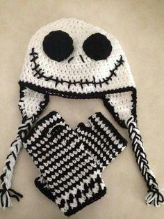 Crochet Child Booties Jack Skellington hat and wristers - CROCHET Crochet Baby Booties Crochet Skull, Crochet Gloves, Crochet Baby Booties, Crochet Beanie, Knit Crochet, Crochet Fingerless Gloves Free Pattern, Crocheted Hats, Loom Knitting, Knitting Patterns