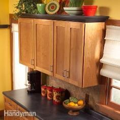 Create an attractive display shelf for the empty space above your kitchen cabinets. This project requires only basic carpentry skills, and you can build it in a day.