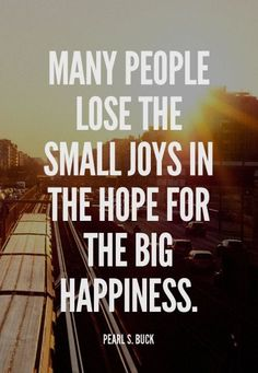 Many people lose the small joys in the hope for the big #happiness. - Pearl S. Buck