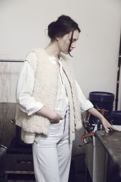 Caron Callahan Shearling Vest with Bleached Denim Dunaway jeans