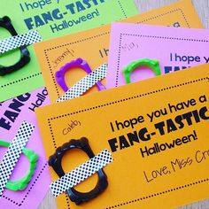 is giving her students little fangs instead of candy for Halloween! Halloween Class Treats, Halloween Gifts, Teaching Schools, Teaching Ideas, Student Gifts, 4 Kids, Easy Gifts, Activities, Education