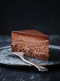 Chocolate Mouuse Cake with Chocolate Ganache. Note - Make only one layer of cake and top with mousse and ganache. #Chocolate #Desserts #MousseCake #Cake