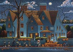 Halloween Jigsaw Puzzles For Adults are the ideal pastime for the Spooky Halloween Holiday! Enjoy these Halloween Jigsaw Puzzles with family and friends! Halloween Artwork, Halloween Scene, Halloween Painting, Halloween Prints, Halloween Pictures, Halloween House, Holidays Halloween, Vintage Halloween, Halloween Pumpkins