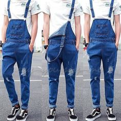 Men Dungarees Ripped Hole Denim Suspender Trouser Jumpsuits Overalls Jeans Pants