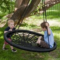 so much cooler than a tire swing and it wont collect water! these are so much fun for all ages! I bet we could make this...