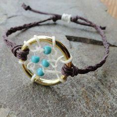 Dreamcatcher Bracelet Anklet Adjustable Turquoise by MidnightsMojo