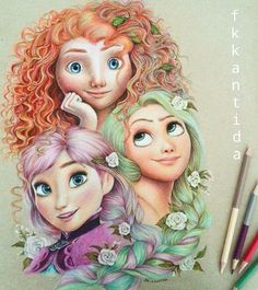 Awesome Colored Pencil Works by Thailand artist Froy Kantida Copic Drawings, Love Drawings, Pencil Drawings, Art Drawings, Pencil Sketching, Disney Sketches, Disney Drawings, Cartoon Drawings, Color Pencil Art