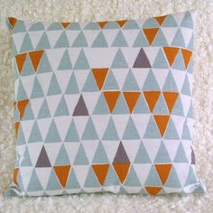 Blue Geometric cushion cover.