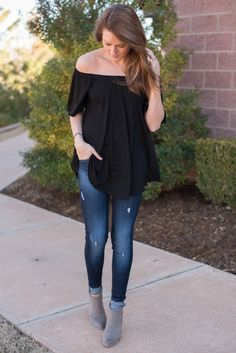 Piko off shoulder short sleeve swing top black from Lush Fashion Lounge