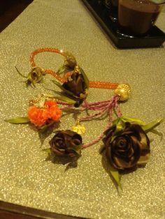 Kahverengi ipek kurdeleden güllerle Turuncu rengi tasarımım çiçeğim Tespih süsüm