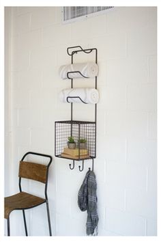 Towel Rack with Wire Basket