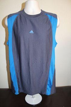 adidas men fitness  tank top shirt (L) dark blue sleeveless polyester EUC  #adidas