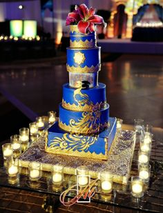 Blue and Gold Peacock Bold 5 Tier Wedding CakeParty Flavors Custom Cakes _ Orlando Weddings Indian Wedding Cakes, Big Fat Indian Wedding, Indian Wedding Decorations, Indian Weddings, Gold Weddings, Desi Wedding, Wedding Reception, Wedding Ideas, Wedding Stuff