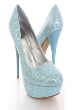 Light Blue Glitter Platform Pump Heels / Sexy Clubwear | Party Dresses | Sexy Shoes | Womens Shoes and Clothing | AMI CLubwear