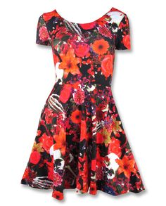 Buy Last Summer Skull Dress by  Liquorbrand online in Australia for $54.90 with FREE* shipping. An alternative rockabilly print of skulls and flowers on red jersey material. Australian alternative rockabilly store