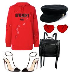 """""""Untitled #1"""" by xiaoyuan-zhao ❤ liked on Polyvore featuring Givenchy, Christian Louboutin, McQ by Alexander McQueen, Manokhi and Hoodies"""