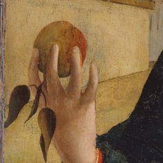 Bramantino: Madonna Kleinberger. Olio e tempera su tavola, prima del 1508. 34,2 X 27,6 cm. The Metropolitan Museum of Art, New York. Nella mano della Madonna c'è la mela che è il simbolo del peccato originale: lei forse cerca di tenerla lontana da suo Figlio, ma lui tende la mano, accettando il suo destino di Redentore.