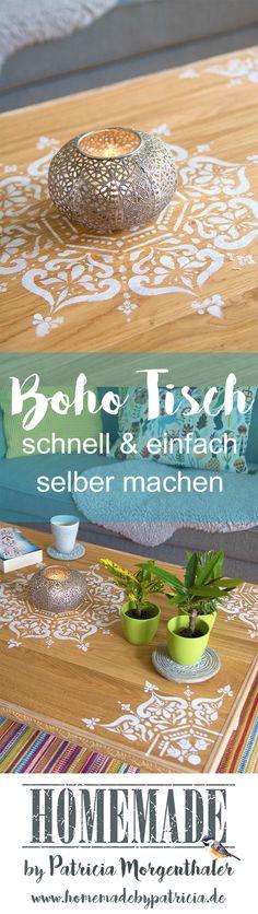 Tolle Upcycling Idee, aus alten Dielen oder Laminatresten wird schnell und einfach ein Boho Tisch, Boho Stil, Upcycling Idee.  Weitere tolle Ideen findet ihr unter www.homemadebypatricia.de