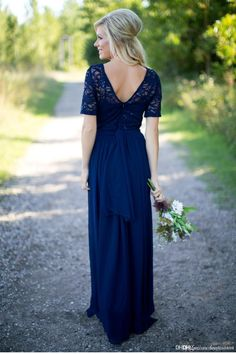 Country Bridesmaid Dresses 2017 Hot Long For Weddings Navy Blue Purple Chiffon Short Sleeves Lace Beaded Floor Length Maid Of Honor Gowns