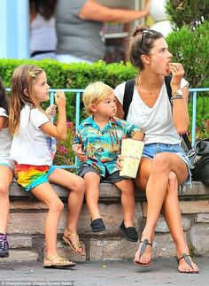 Alessandra Ambrosio in DisneyLand with fer family in Anaheim, CA - August 24, 2014