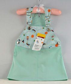 Saia de peitilho ajustável - Esta bonita saia de peitilho para 1 ano, tem alças ajustáveis e é perfeita para uma menina que gosta de brincar, Ideal para qualquer época do ano.