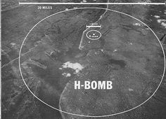 The middle circle is the blast radius of the original atomic bomb dropped on Hiroshima. The outer circle is the blast radius of a Hydrogen bomb. University Physics, Gw Bush, Mundo Dos Games, Arms Race, School Of Engineering, Nuclear War, War Image, E Mc2, Science