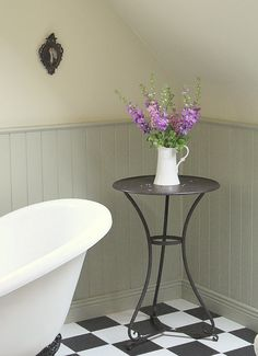 La Vie en Rose: The Upstairs Bathroom.  Farrow and Ball French Grey