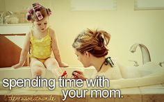 I use to do this with Kristin all the time, mostly the curlers.....lol  Oh how she hated those curlers!!
