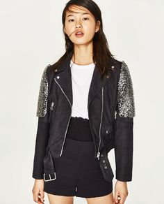 BIKER-STYLE JACKET WITH EMBROIDERED SHOULDERS