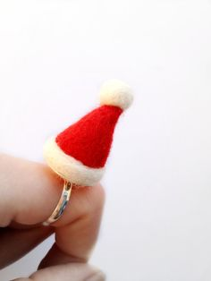 Needle Felt Santa Hat Ring  Felt Xmas Red And by RebeccasEmporium, £8.00