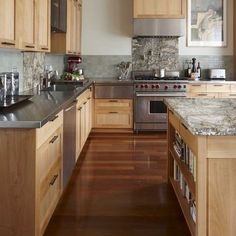 light kitchen cabinets with dark floors - Google Search