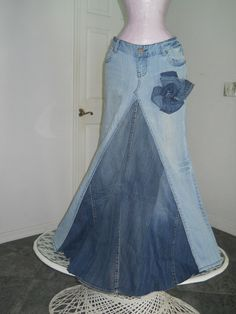 2 old jeans - great skirt! Would keep the back with the light color jeans