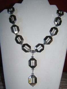 Bold Clear Glass and Silver Necklace