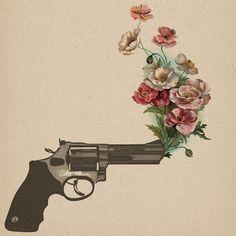 Make love, not war. Flower gun sketch