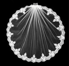 Beaded Alencon Lace Edge Fingertip Wedding Veil VFF3001--Affordable Elegance Bridal -