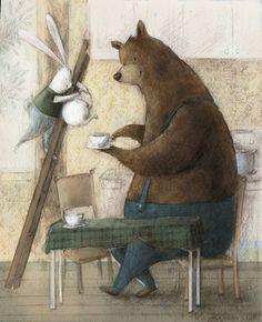 Animalarium: High Tea. Bunnie and bear.