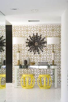 Hollywood Regency location Palm Springs Love it all!! Wallpaper possibly the hall ???