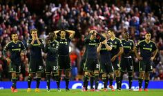 The players of Middlesbrough react during the penalty shoot out in the Capital One Cup Third Round match between Liverpool and Middlesbrough at Anfield on September 23, 2014 in Liverpool, England.