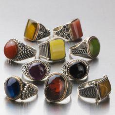Wholesale Lot 10Pcs 925 K Sterling Silver Mens Rings Natural Amber Gemstone