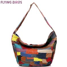 46.90$  Buy now - http://alicgg.worldwells.pw/go.php?t=32770420227 - Flying birds Hobos genuine leather handbags for women's tote european Panelled women bags luxury famous handbag bolsas LM4236fb