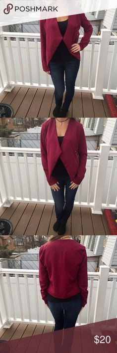 Burgundy blazer Burgundy blazer by rue 21. Worn only a couple of times. No damage, in very good condition,like new. Light weight. Made of 98% polyester and 2% spandex. Two silver zippers with pockets. Size medium 🙅🏻no trades🙅🏻 Rue 21 Jackets & Coats Blazers