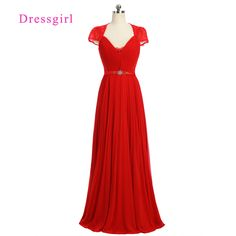 >> Click to Buy << Red 2017 Formal Celebrity Dresses A-line V-neck Cap Sleeves Floor Length Chiffon Lace Beaded Famous Red Carpet Dresses #Affiliate