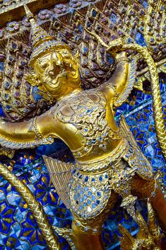 The pedestal on which the Emerald Buddha sits is decorated with Golden Garuda, the mythical half-man, half-bird form, a steed of Rama, who holds his mortal enemy Naga the serpent in his legs. Golden Wings, Half Man, Pedestal, Buddha, Emerald, Thailand, Bird, Legs, Birds