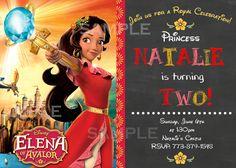 Disney Princess Elena of Avalor Birthday Invitations Chalkboard