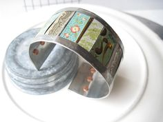 Green and Blue Mixed Tin Cuff: Tin Can Bracelet by eaststreettins