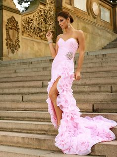 Sexy Hot Pink Organza Sweetheart Slit Prom Mermaid Dress Court Train With Flowers Crystal Nancy Ajram-in Prom Dresses from Weddings & Events on Aliexpress.com | Alibaba Group